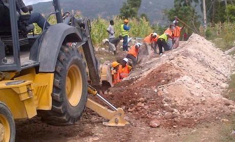 Installationof PVC pipes at Jacmel